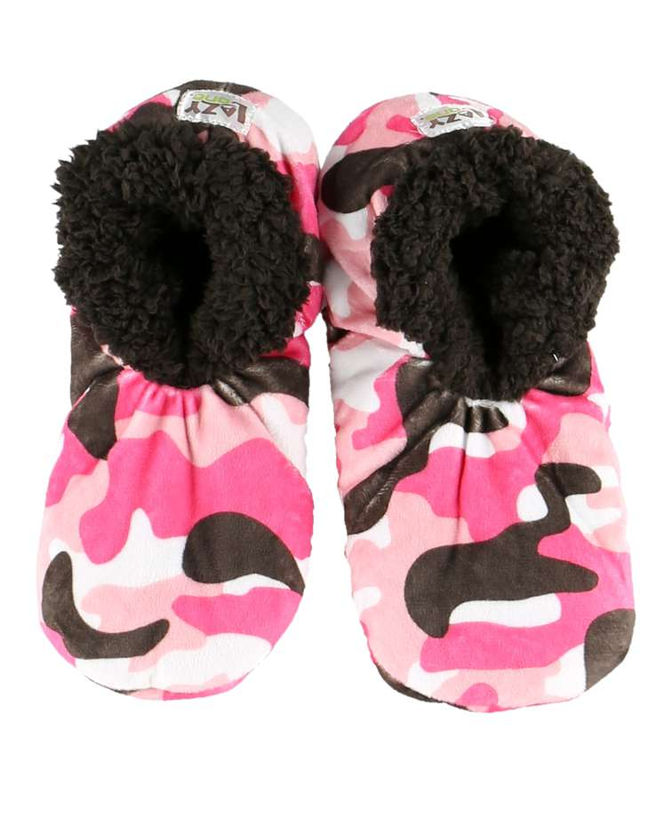 Pink Camo Deer Fuzzy Feet Slippers