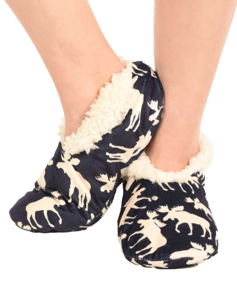Classic Moose Blue Fuzzy Feet Slipper