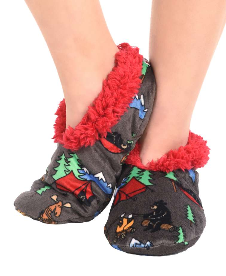 Happy Camper Bear Fuzzy Feet Slipper