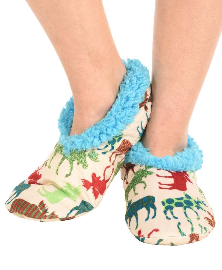 Pattern Moose Fuzzy Feet Slipper