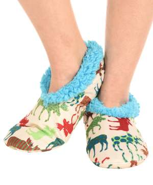 Pattern Moose Fuzzy Feet Slipper
