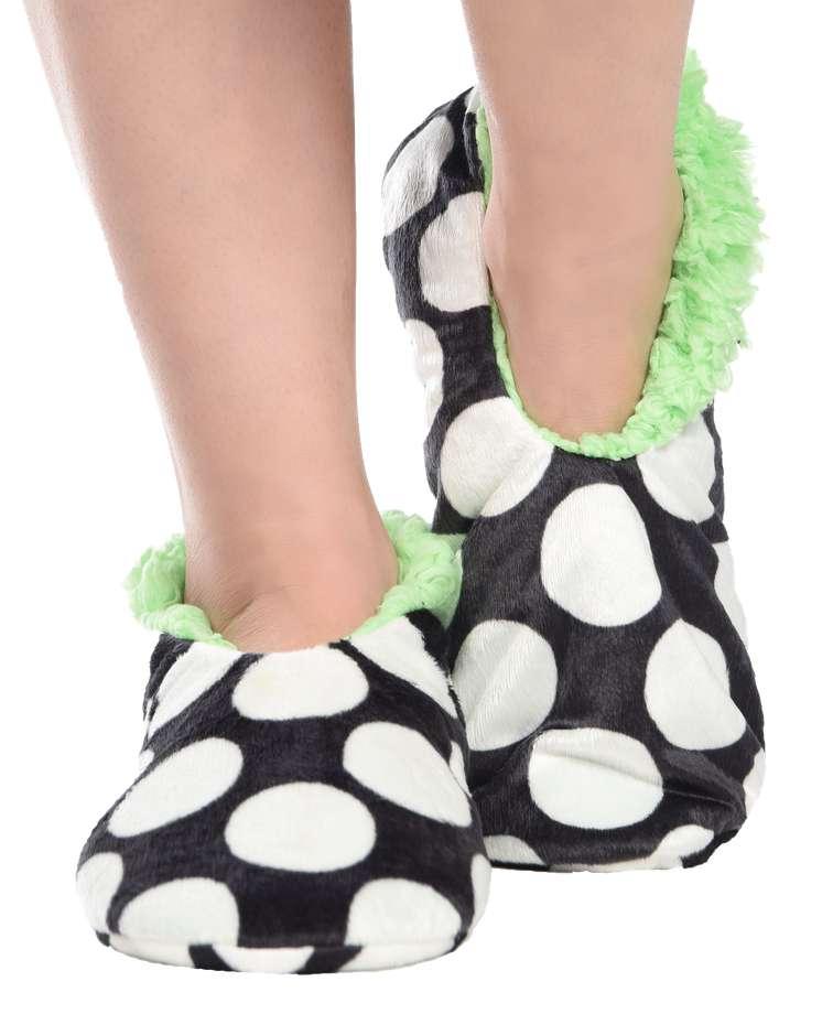 Polka Dot Fuzzy Feet Slipper