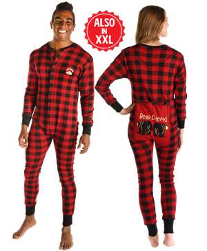 Bear Cheeks Adult Plaid Onesie Flapjack