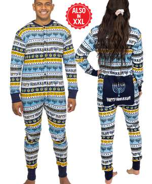Happy Hanukkah Adult Onesie Menorah Flapjack