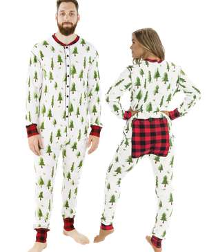 Evergreen Plaid Adult Onesie Flapjack