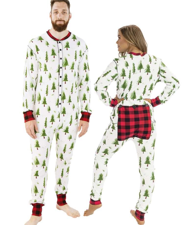 Evergreen Plaid Adult Onesie Flapjack