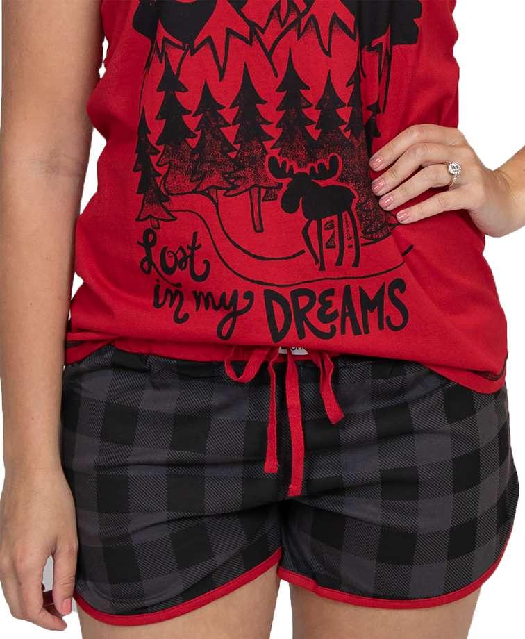 Lost in My Dreams Women's Grey Plaid Shorts