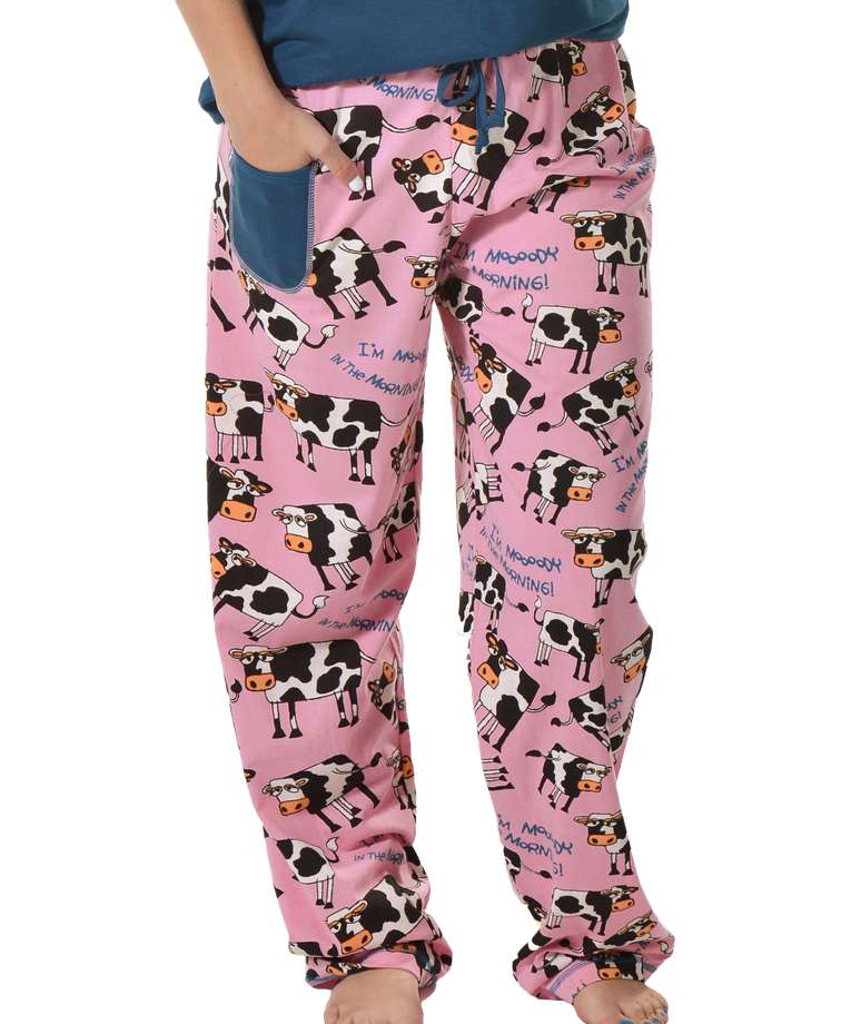 Moody in the Morning Women's Regular Fit Cow PJ Pant