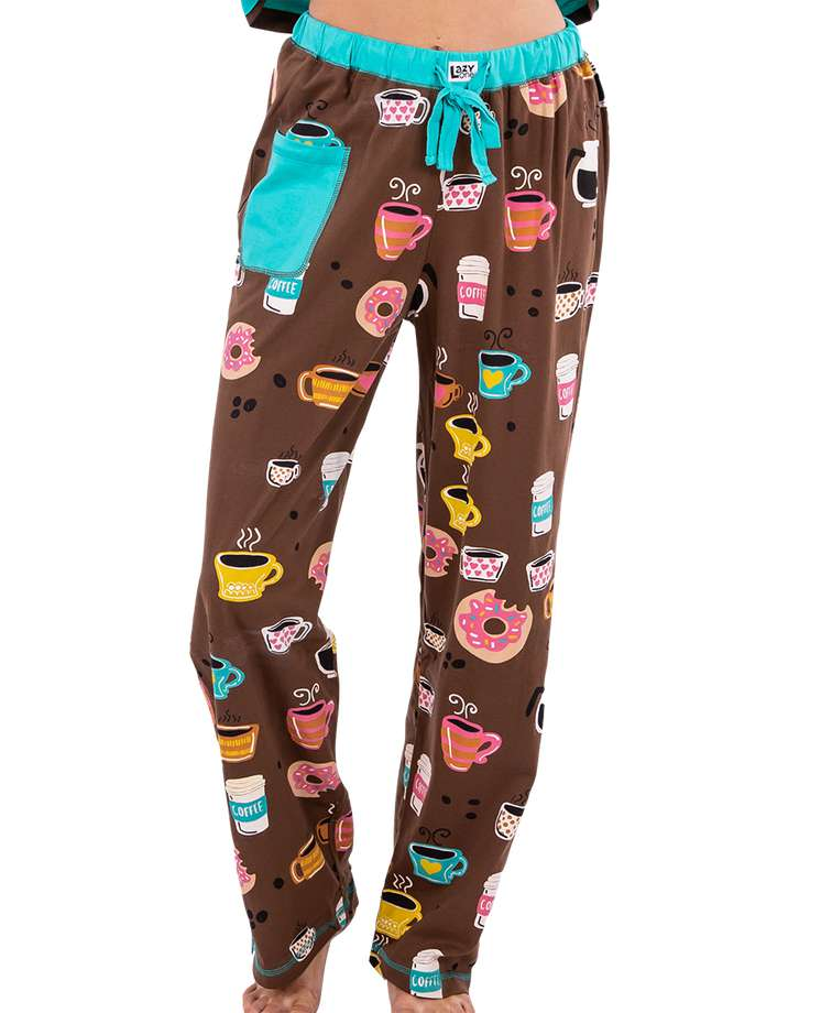 Latte Sleep Women's Regular Fit Coffee PJ Pant