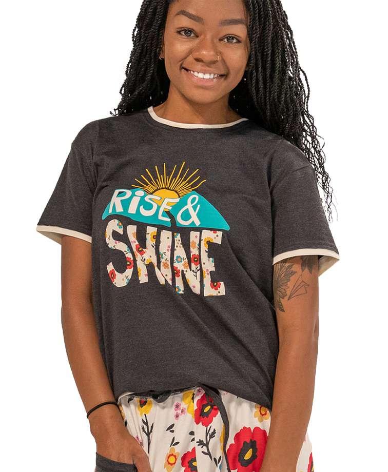 Rise & Shine Women's Regular Fit Flower PJ Tee