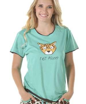 Fast Asleep Women's Regular Fit Short Sleeve Cheetah Tee