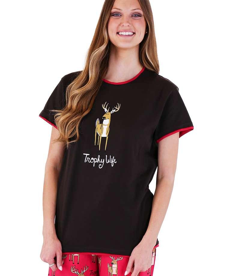Trophy Wife Women's Regular Fit Deer PJ Tee (C)