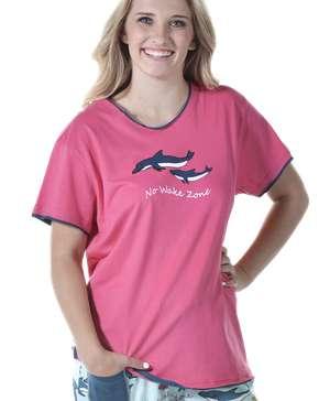 No Wake Zone Women's Regular Fit Dolphin PJ Tee