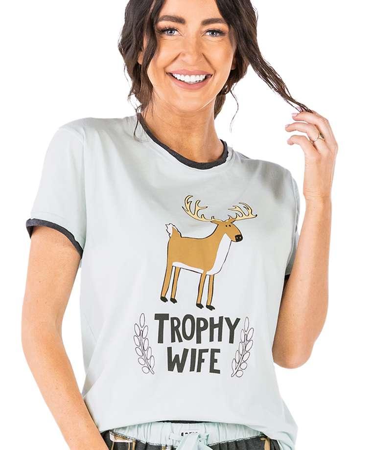 Trophy Wife Women's Regular Fit Deer PJ Tee