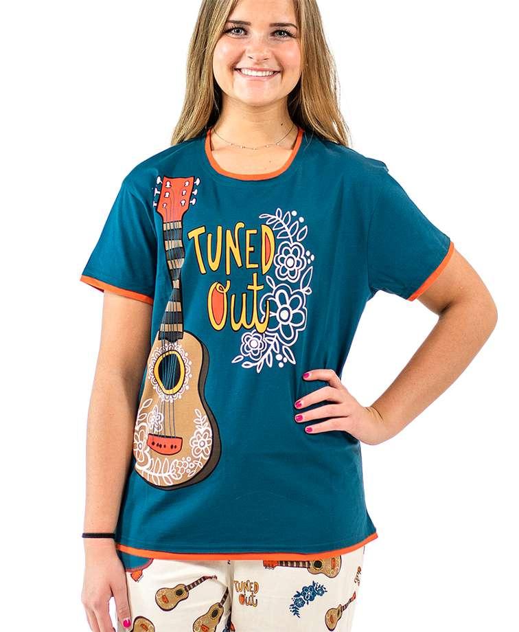 Tuned Out Women's Regular Fit Guitar PJ Tee