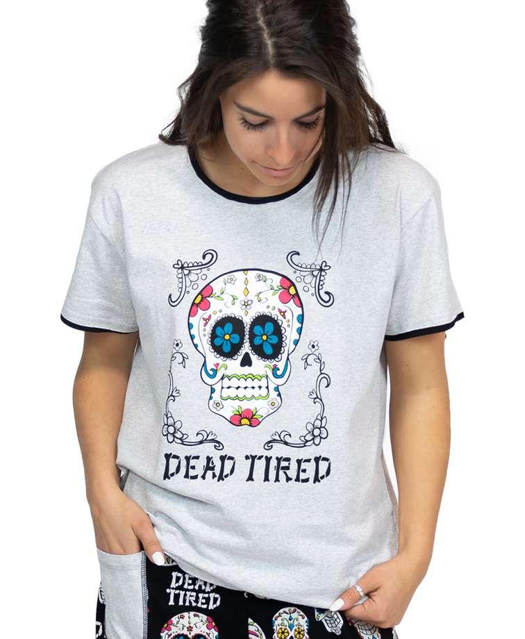 Dead Tired Women's Skull Regular Fit PJ Tee