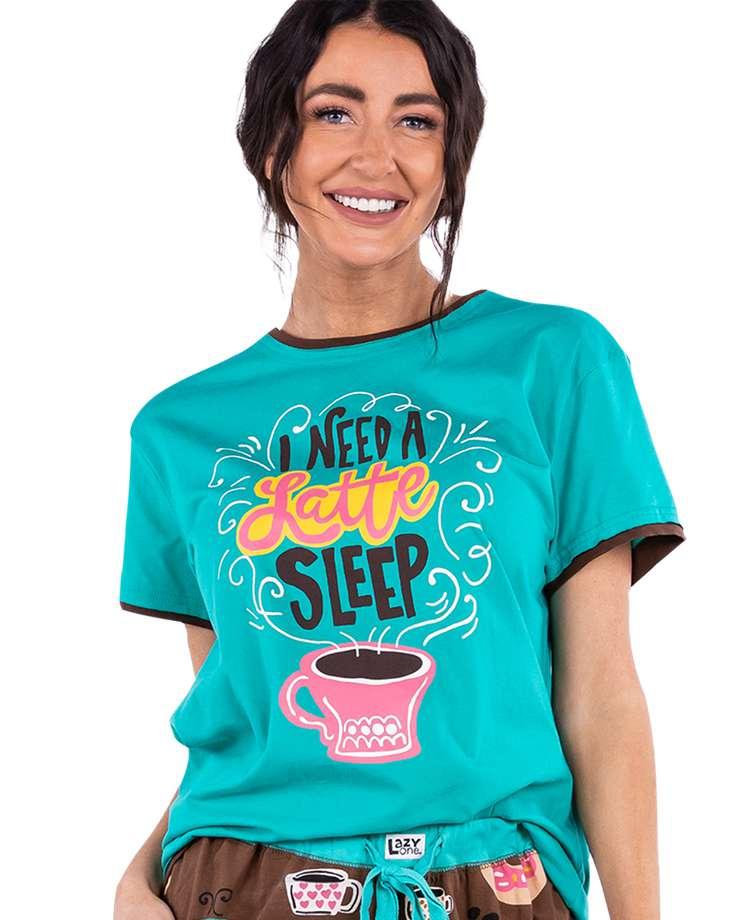 Latte Sleep Women's Regular Fit Coffee PJ Tee
