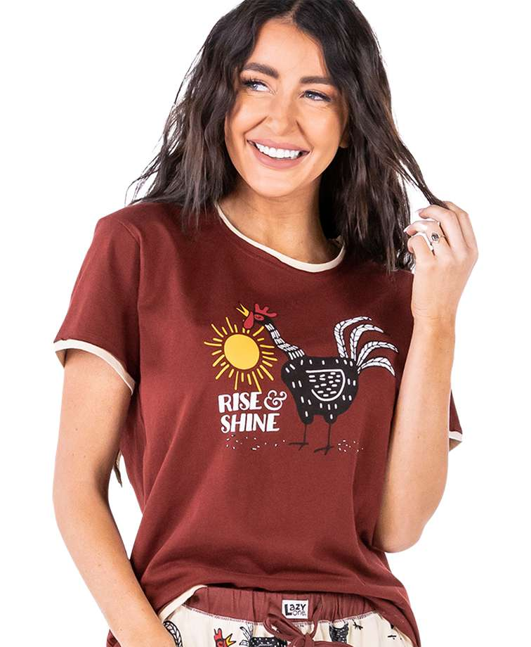 Rise & Shine Women's Regular Fit Chicken PJ Tee