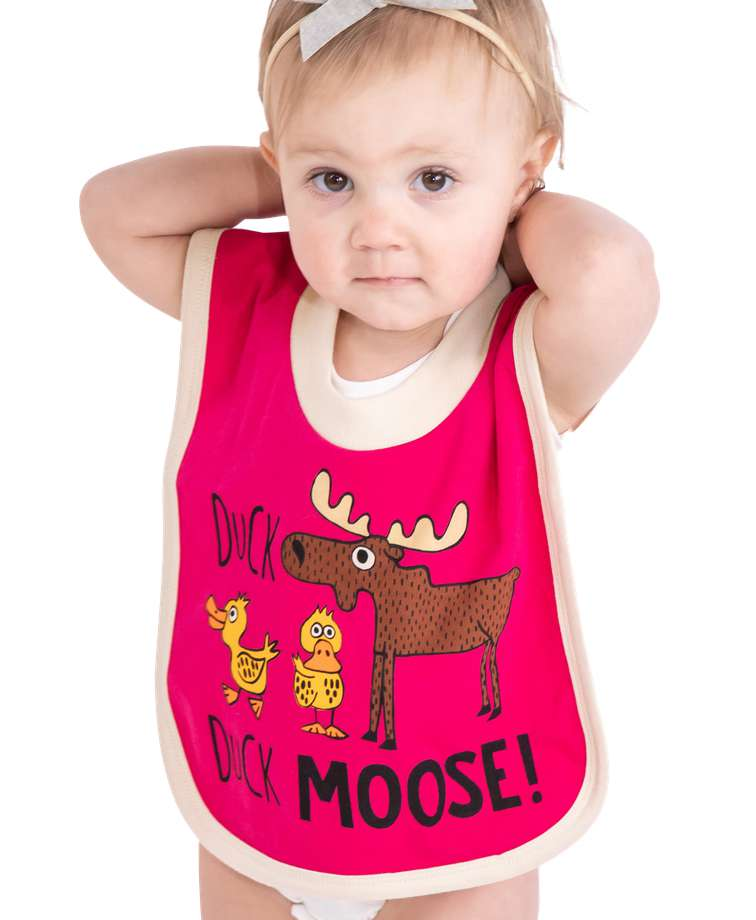 Duck Duck Moose Pink Infant Bib