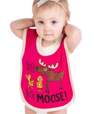Duck Duck Moose Pink Infant Bib