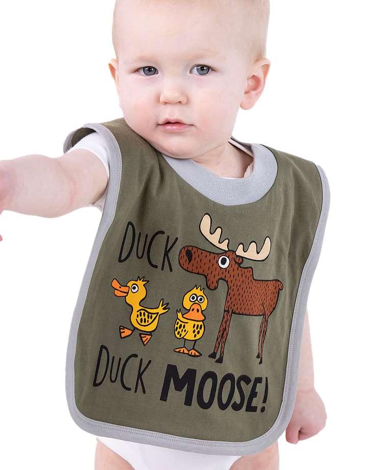 Duck Duck Moose Grey Infant Bib
