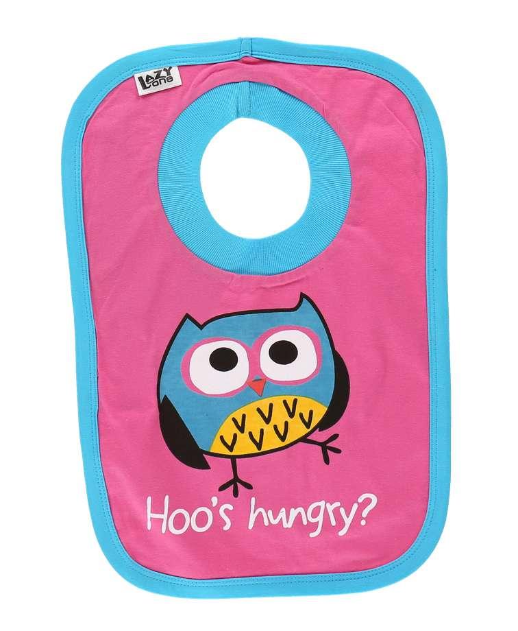 Hoo's Hungry Owl Pink Infant Bib