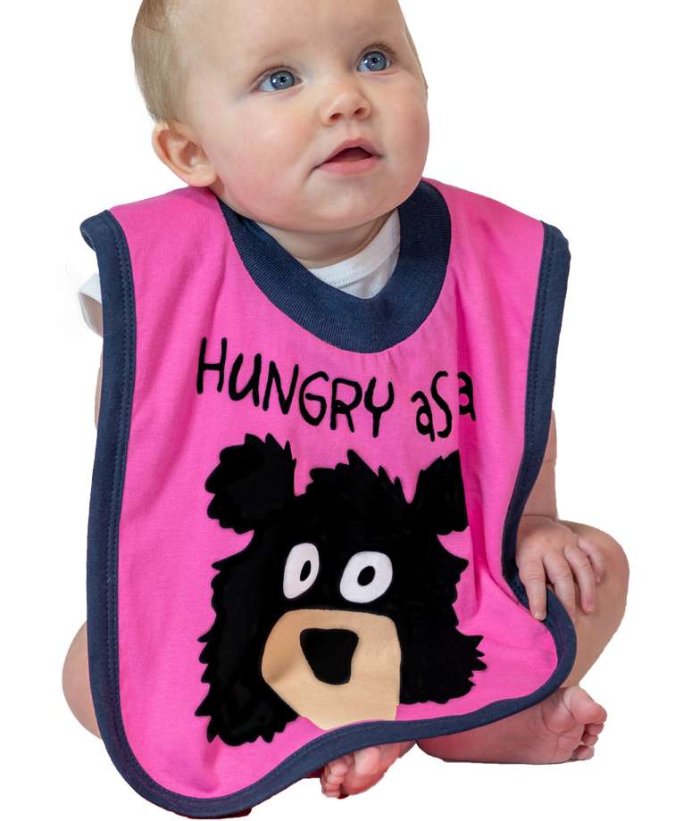 Hungry as a Bear Pink Infant Bib
