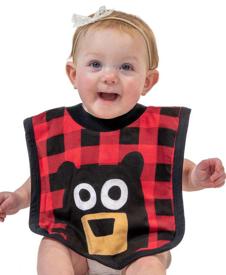 Bear Plaid Infant Bib