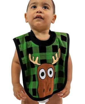 Moose Plaid Green Infant Bib