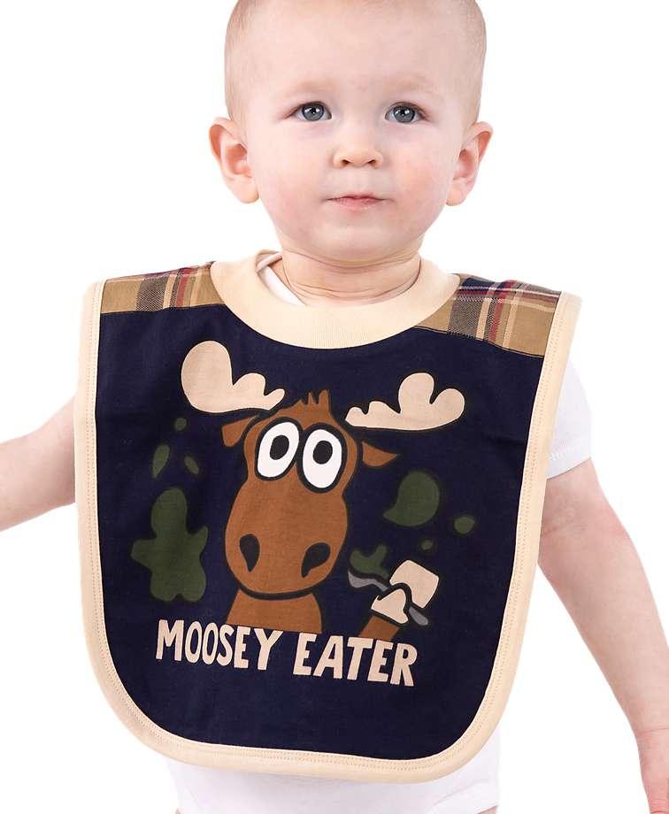 Moosey Eater Blue Infant Bib