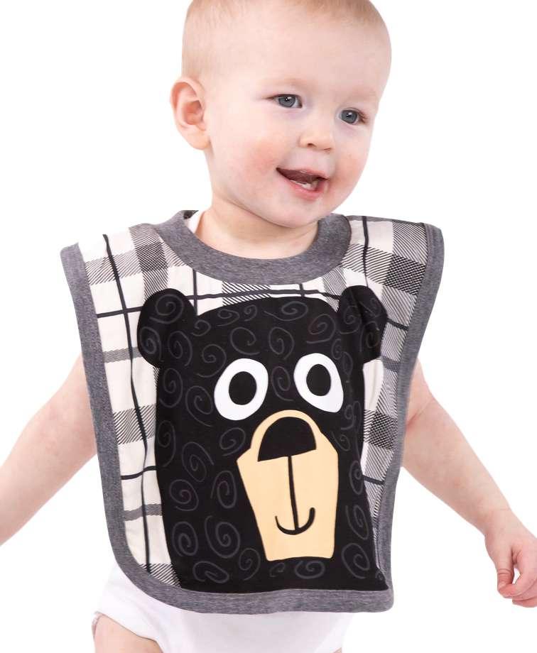 Bear Hug Grey Infant Bib