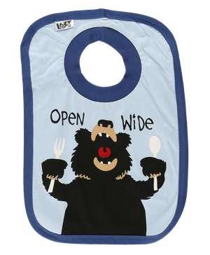 Open Wide Blue Bear Infant Bib