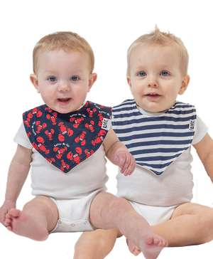 Lobster 2 Pack Infant Bandana Bib