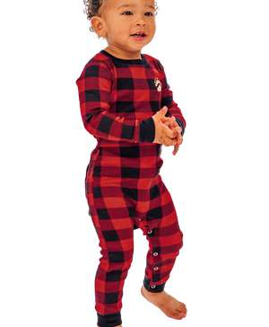 Bear Cheeks Infant Plaid Onesie Flapjack