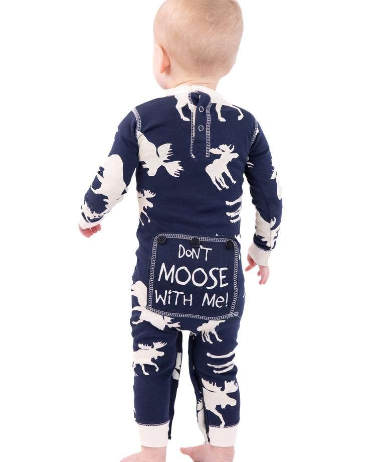 Classic Moose Infant Blue Onesie Flapjack