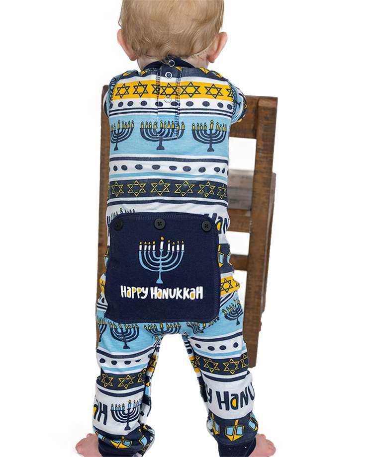 Happy Hanukkah Infant Onesie Menorah Flapjack