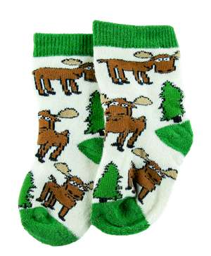 Moose Hug Green Trim Infant Sock