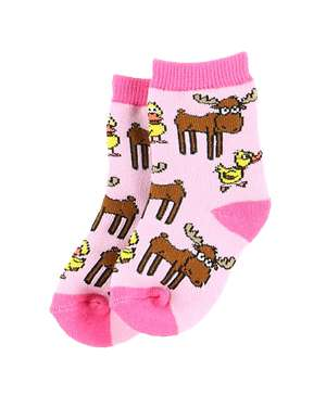 Duck Duck Moose Pink Sock for Infants (C)