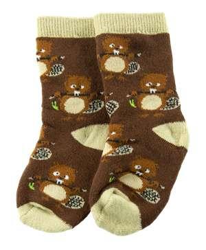 Teething Beaver Brown Infant Sock