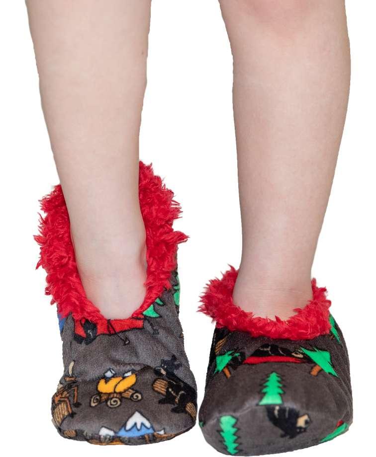 Happy Camper Bear Kid's Fuzzy Feet Slipper