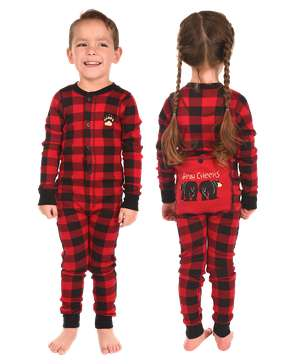 Bear Cheeks Kid Plaid Onesie Flapjack