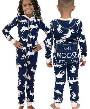 Classic Moose Kid Blue Onesie Flapjack