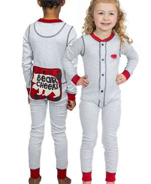 Grey Bear Cheeks Kid Onesie Flapjack
