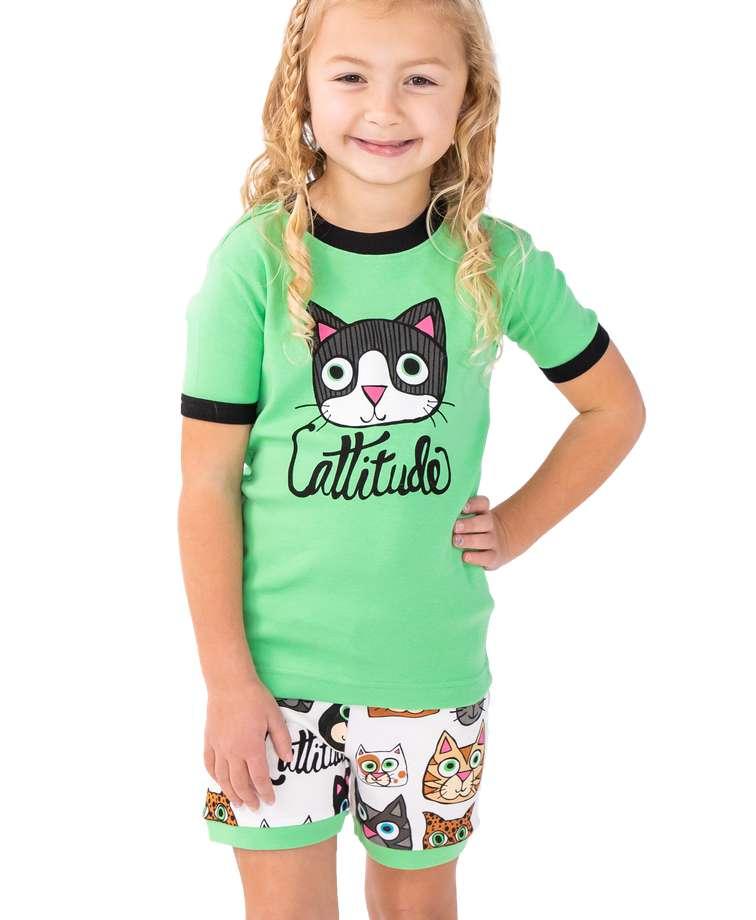 Cattitude Kid's PJ Short Set