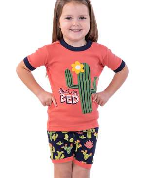 Stuck In Bed Kid's Cactus PJ Short Set