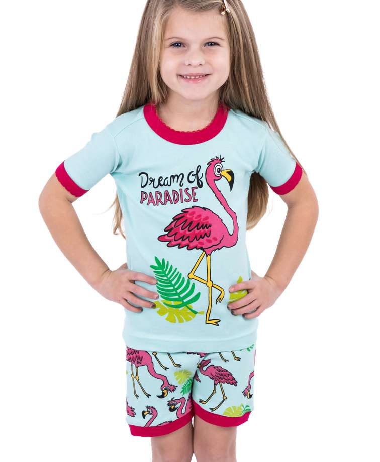 Dream Of Paradise Kid's Flamingo PJ Short Set