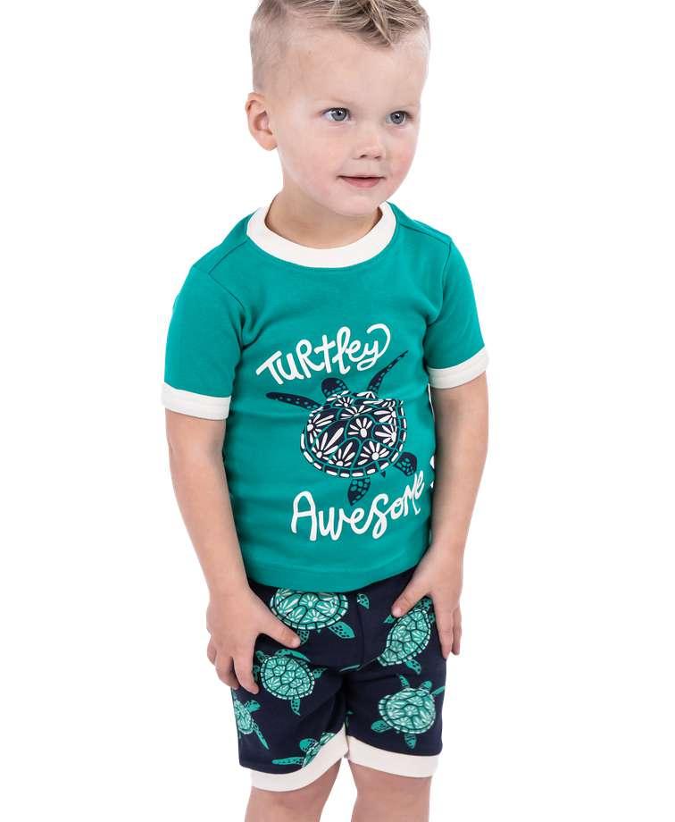 Turtley Awesome Kid's Turtle PJ Short Set