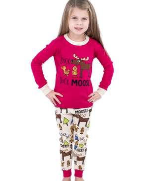 Duck Duck Moose Pink Kid's Long Sleeve PJ's