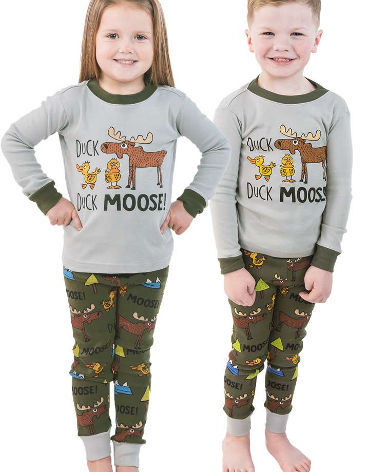 Duck Duck Moose Grey Kid's Long Sleeve PJ's