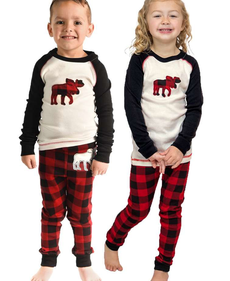 Moose Plaid Kid's Long Sleeve PJ's